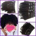 Venta caliente de la Virgen Brasileña del pelo afro rizado pelo 3c 4a 4b 100% Pinza de Pelo Humano en la trama del pelo