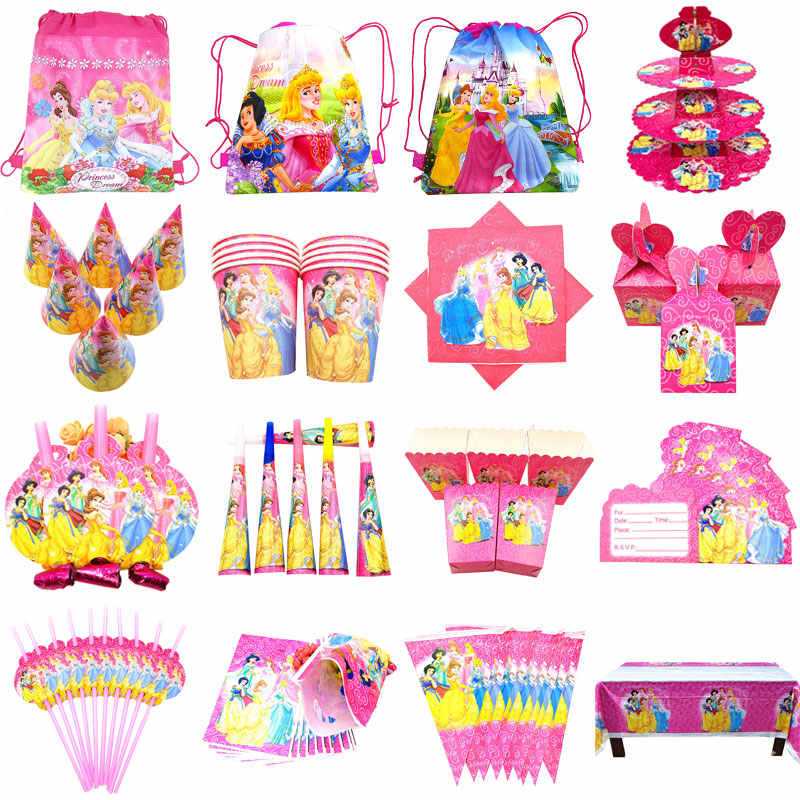 Disney Prinses Thema Cartoon Party Set Ballonnen Servies Plaat Servetten Banner Verjaardag Candy Box Baby Shower Partij Decoratie