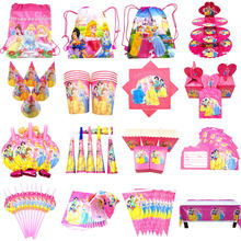 Disney Princess Theme Cartoon Party Set Balloons Tableware Plate Napkins Banner Birthday Candy Box Baby Shower Party Decoration(China)