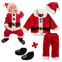 Новинка 2018 года; Рождественский комплект одежды из 4 предметов для мальчиков и девочек комплект одежды для малышей с Санта-Клаусом; хлопкова...