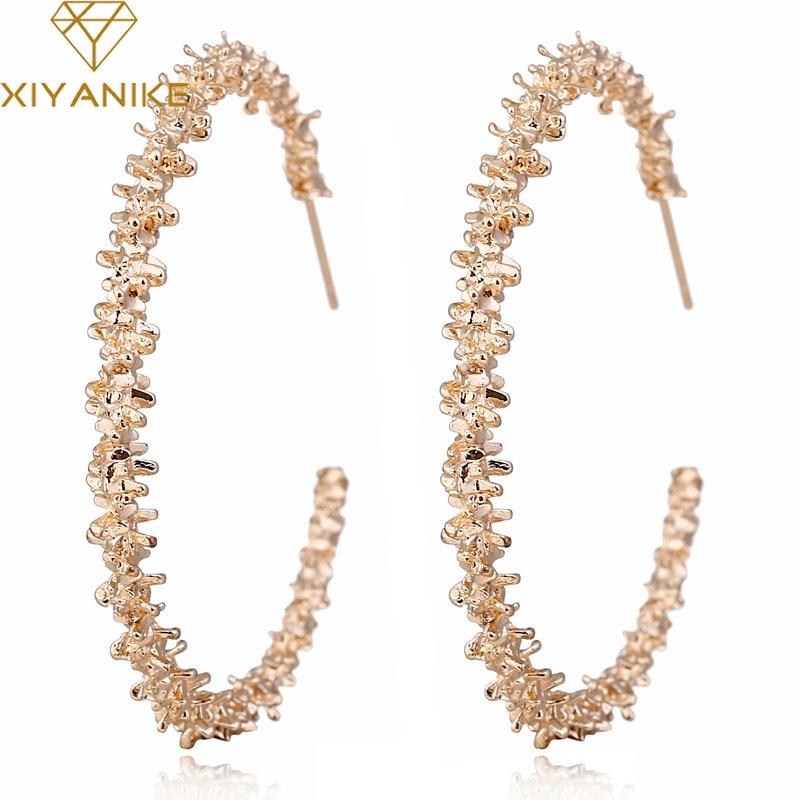 XIYANIKE New Vintage Earrings for Women Gold Round C Geometric Statement Earring 2019 Metal Earring Hanging Fashion Jewelry E22