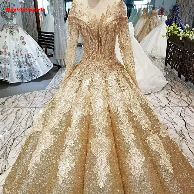 30554 Gold Embroidery Wedding Dress Tassel Beads Lace Appliqued Shinning Sequined Luxury Wedding Dress