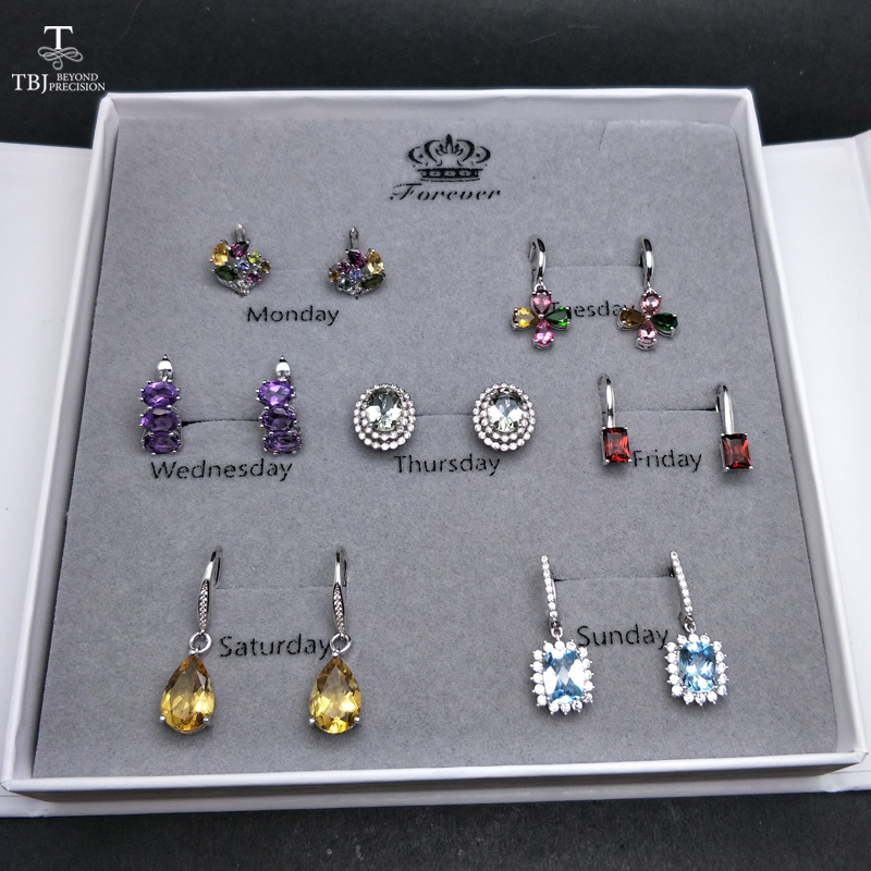 TBJ,2019 new setly Natural Gemstone 925 silver Jewelry earring Spree weekly subject Women wife  valentine's day big gift bag