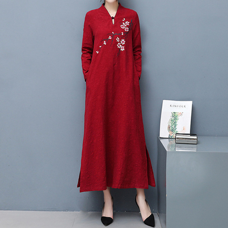 Robes Chinois A As Femmes À Imprimer Printemps Couleur Lâche Lin Automne Longues Rouge Wj777 ligne Robe Coton Manches Profond Picutre Occasionnel XZPiku