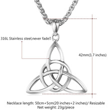 Viking Jewelry Celtic Knots Necklaces & Pendants Triquetra Gold Color Stainless Steel Men Chain Gift Irish Knot Charm P722