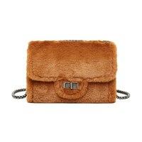 S.p.l. Мода из искусственного меха и кожаные сумки для женщин небольшая сумка ремешок-цепочка чехол сумка на плечо с кнопкой