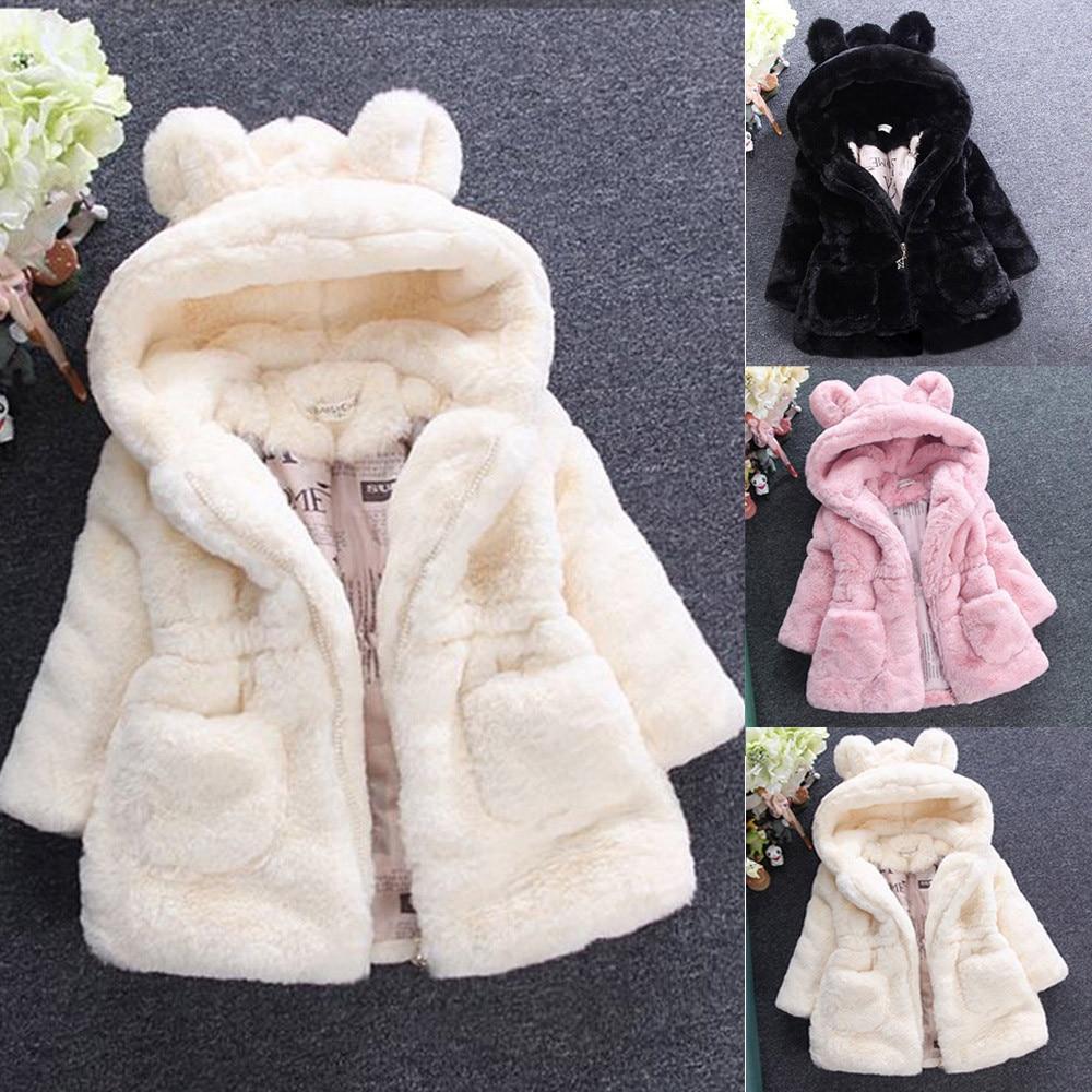 4494 Mayoral Fur Coat for Girls Stone