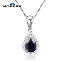 Water Drop Natural Sapphire Amethyst Garnet Pendant Necklaces For Women 925 Sterling Silver Fine Jewelry Necklace