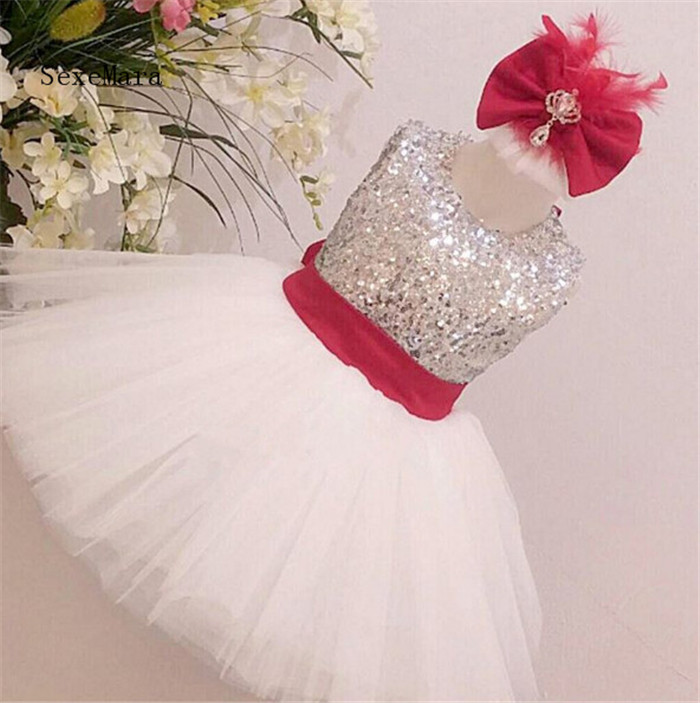 Real Picture Ivory White Tulle Flower Girl Dress Silver Sequin Bow Keyhole Back Knee-Length Short Baby First Birthday Dress pleated panel keyhole back dress