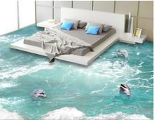 3 d flooring custom waterproof 3 d pvc flooring Waves a dolphin 3 d bathroom flooring painting photo wallpaper for walls 3d