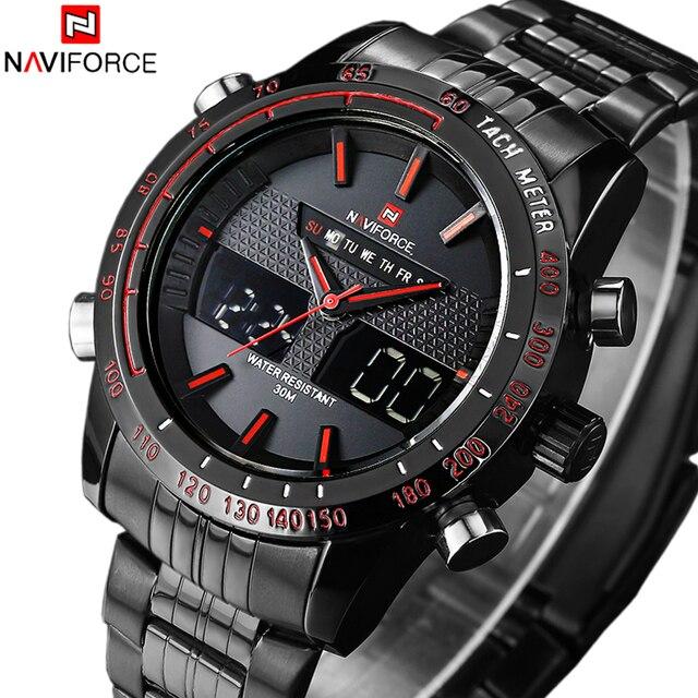 ade7093891b NAVIFORCE marca de Luxo Completa Steel Watch Homens Esportes LED Relógios  Militares Do Exército dos homens