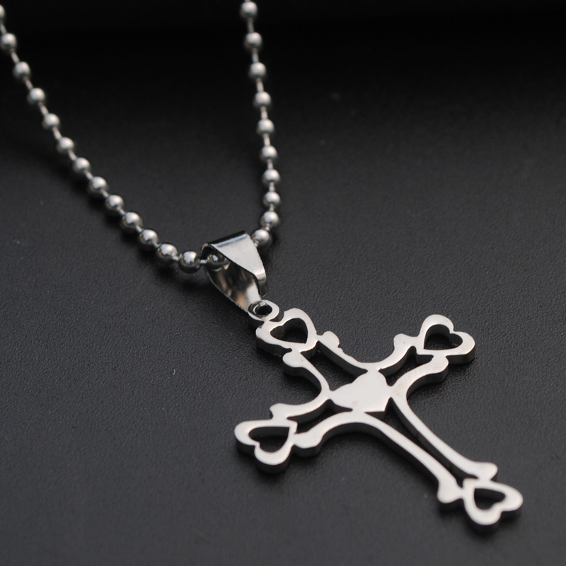 Stainless Steel Multilayer hollow Love Heart Cross Necklace Heart Religion Jesus Cross Necklace Titanium Steel Faith Cross Necklace