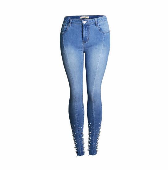 Elásticos Verano Pantalones Pies América Azul Casual Mujer Europa Nuevo Decoración Delgados Jeans Vaqueros Rebordear Y Lápiz fxTAqnwE8