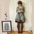 Vintage Japanese Women Loose  Long-Sleeve Dress 100% Cotton Autumn Winter Unique Novelty Clothing Retail Wholesales