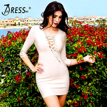 INDRESSME Summer New Sexy Hollowed Out V Nightclub Bandage Thin Package Hip  Dress