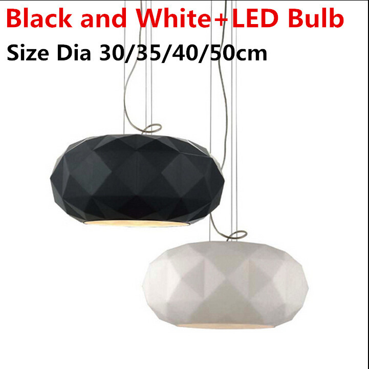 Modern Design Diamond Pendant Light Hanging Black Glass Suspension Lampshade For Dinning Room Bedroom LED E27 Bulb Lamp Fixtures