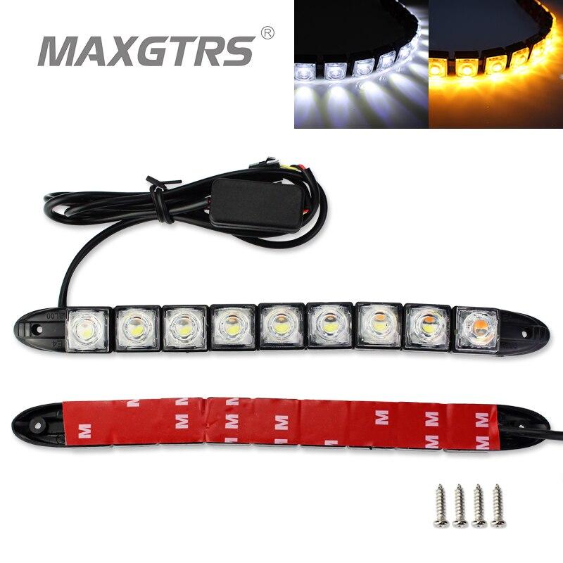 2x6/9/16 LED De Voiture Flexible Blanc/Ambre Switchback LED Knight Rider Bande Lumière pour phare Séquentielle Clignotant DRL Clignotants