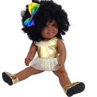 Black baby doll reborn pop American African baby girl 18inch lol reborn silicone vinyl 48cm newborn poupee bonecas kids gift