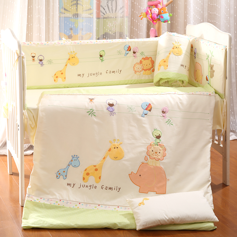 9Pcs Cotton Baby Bedding Set Newborn Infant Crib Bedding Kit Quilt Pillow Bed Sheet Bumpers Bed