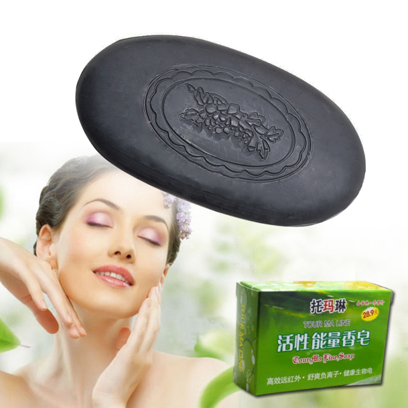 Tourmaline Bamboo Charcoal Soap Remove Mites Sterilization Face Body Bath Soap Whitening Soap Cleaning Skin Soap Useful