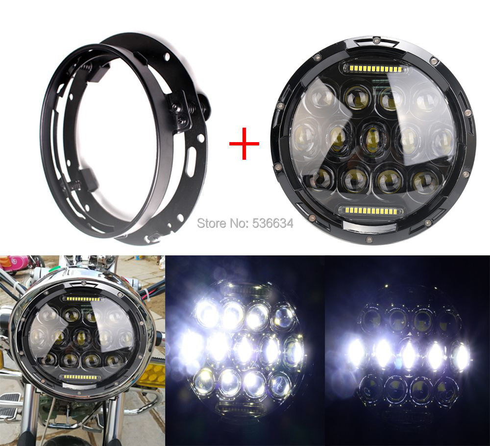 75W 7Inch LED Round Projector Daymaker Headlight Hi/Low Beam DRL + LED Headlight Mounting Ring Bracket For Road King Classic