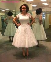 Elegant Lace Tea Length Wedding Dress Vintage Cap Sleeve Illusion Back Appliqued Bridal Gown Vestido De