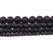 f8099882436b 1 hilo lote Piedra Natural negro roca Lava Cuentas 4 6 8 10 12mm cuentas  espaciadoras redondas sueltas para hacer joyería DIY al.