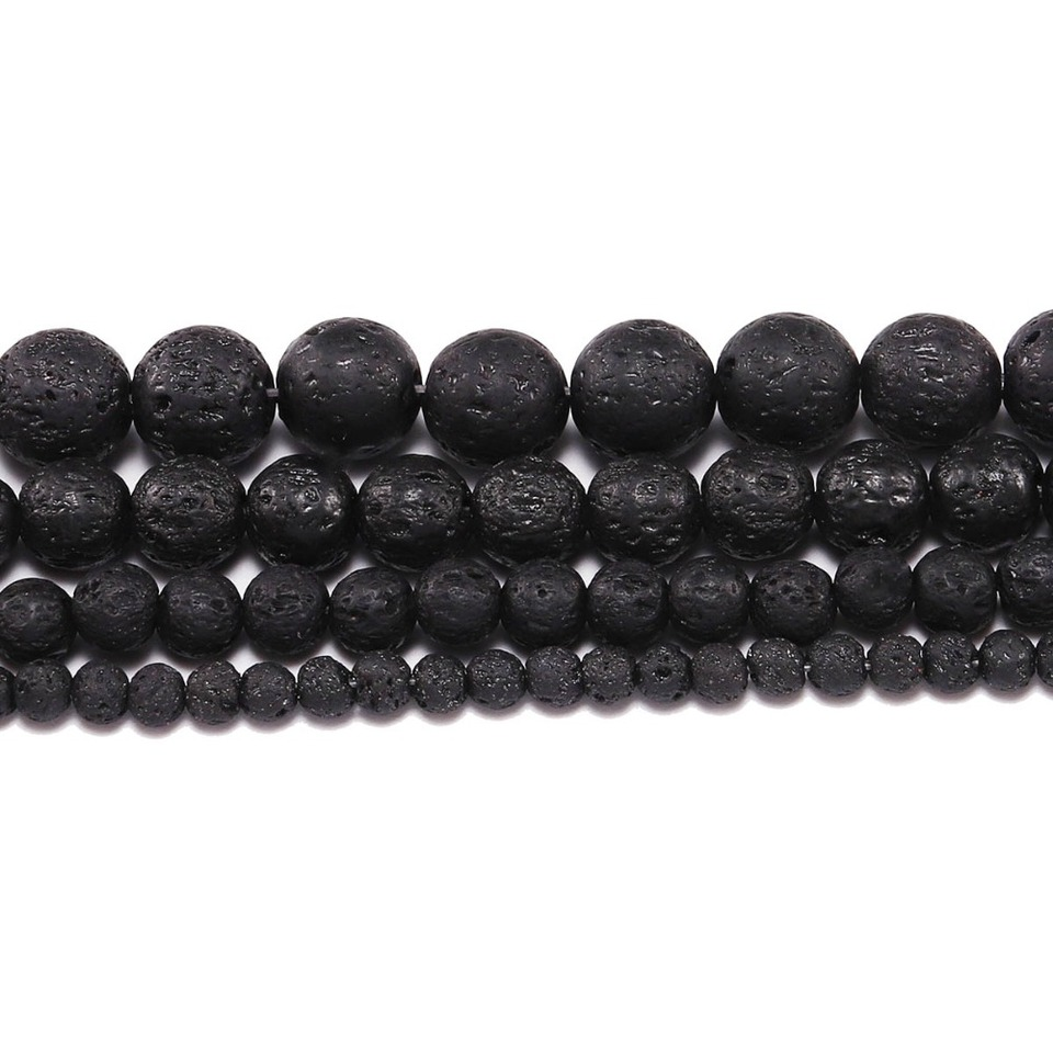 Natural For Essential Oils and Per 10 pcs 20mm Black Stone Lava Round Beads