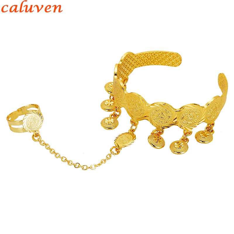 Baby Coin Bracelet With Free Size Ring Gold Color Arab Coin Bangle for Kids Children Jewelry Middle Eastern Gifts