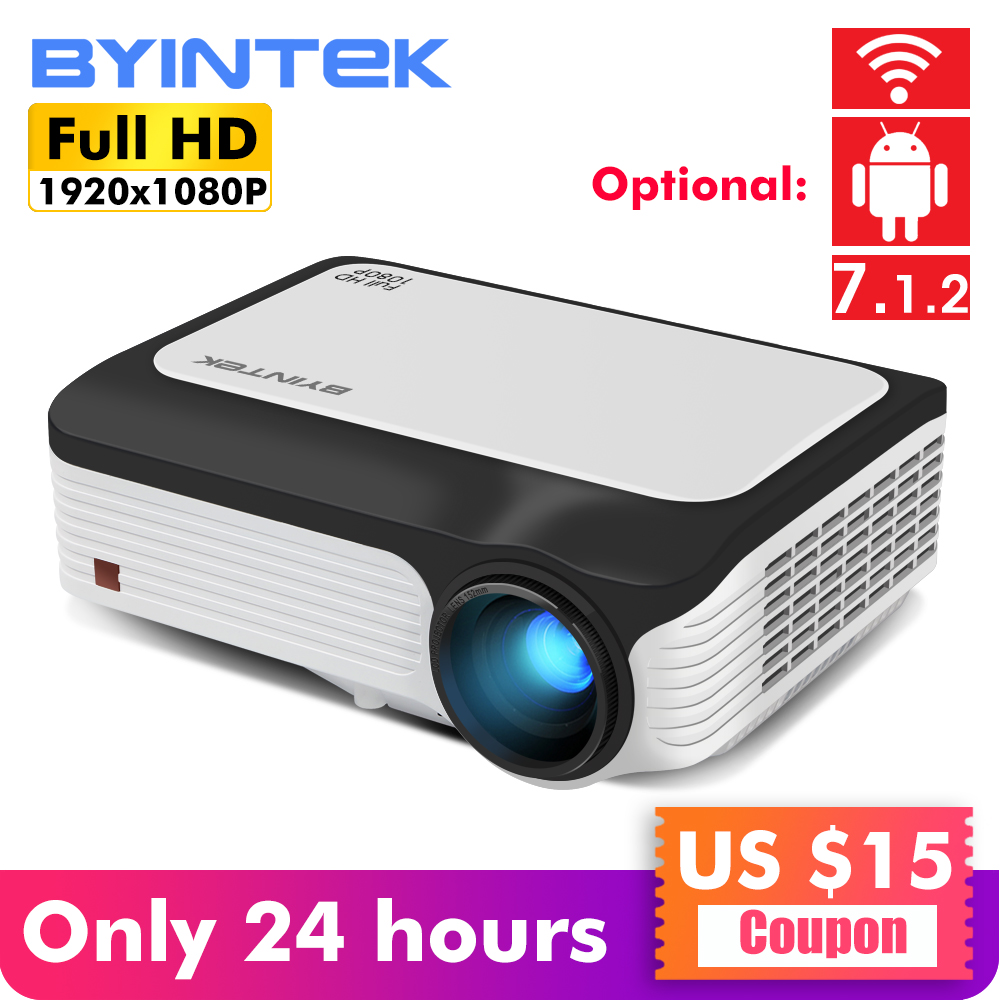 BYINTEK M1080 inteligente (1 GB, 2 GB + 16 GB) android WIFI FULL HD 1080 P HD LED portátil Mini proyector 1920x1080 de vídeo LCD para Iphone SmartPhone