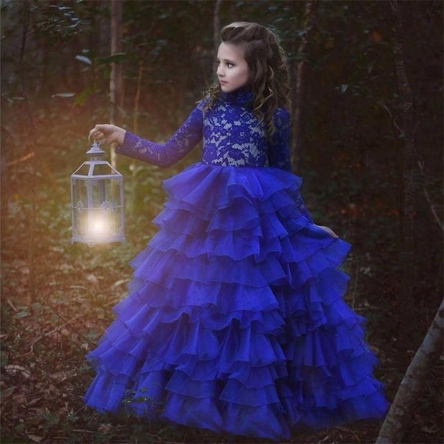 vestido daminha Royal Blue Lace Kids Evening Gowns Long Sleeves ...