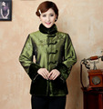 Green Winter Chinese Women's Satin Silk With Fur Collar Wadded Jacket Embroidery Outerwear Free Shipping M L XL XXL 3XL 4XL Y05