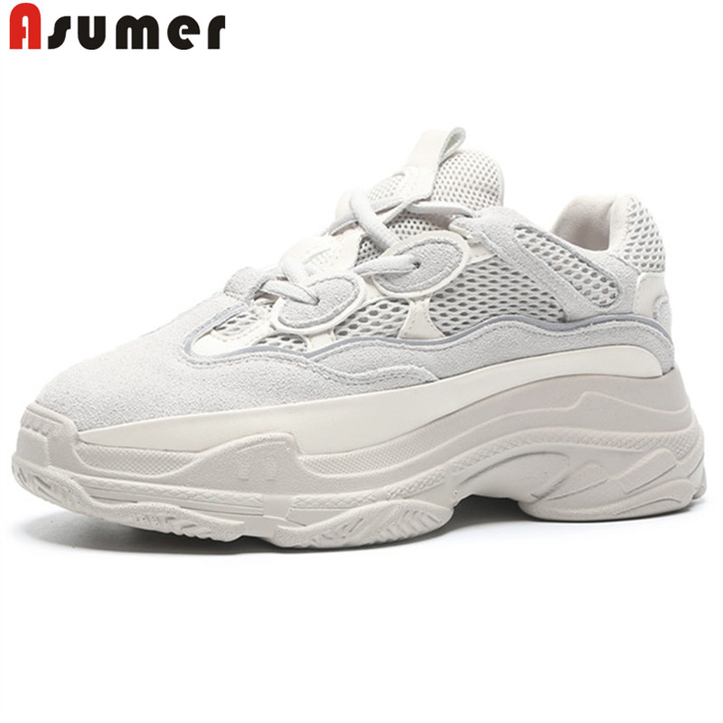 цена на ASUMER 2018 fashion spring autumn shoes woman round toe lace up sneakers genuine lleather shoes casual women flats