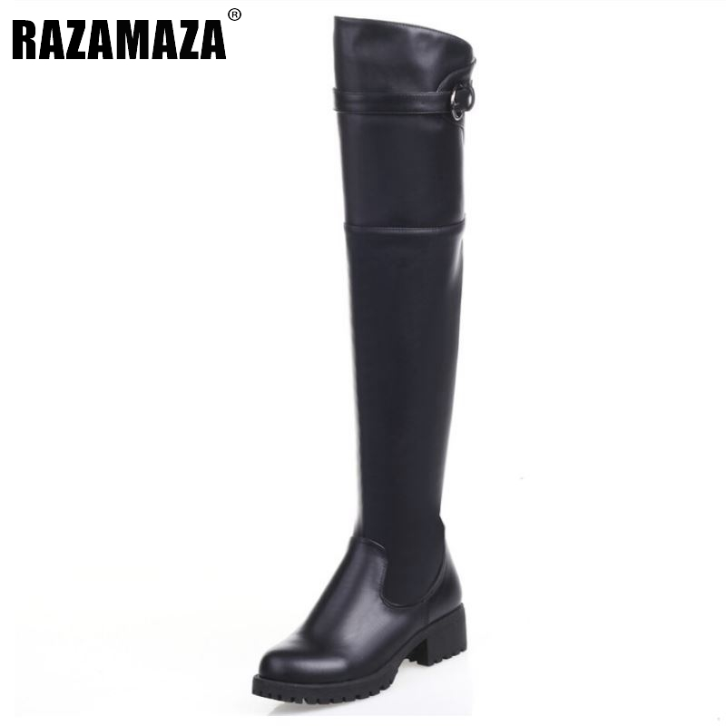 RizaBina Women Natrual Genuine Leather Over Knee Boots Square Low Heel Botas Fashion Zipper Heeled Footwear Shoes Size 34-39 women real natrual genuine leather high heel boots half short feminina botas winter boot footwear shoes r7249 size 34 39
