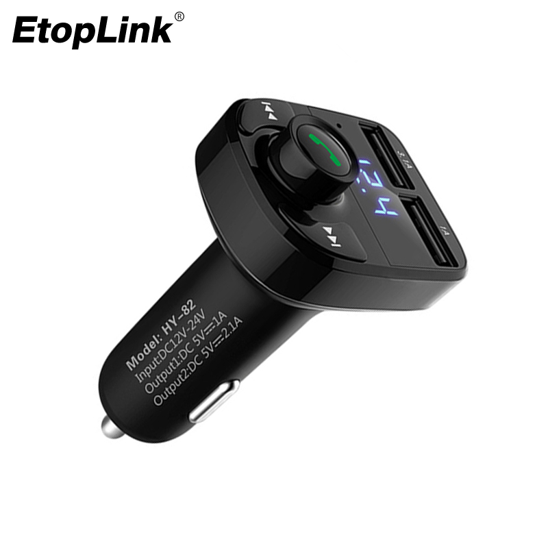 EtopLink Car USB Charger with MP3 Car bluetooth Wireless MP3 player hands-free call Dual USB Car Charger Kit FM Transmiter LED