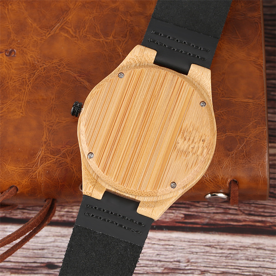 Black dial genuine leather band wood watch men12