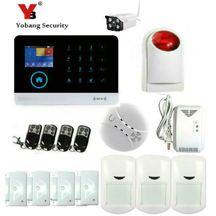 YobangSecurity Wireless WiFI Home Alarm System Android IOS APP GSM GPRS Alarm System with Wireless Siren Outdoor WIFI IP Camera yobangsecurity touch keypad wireless wifi gsm home security burglar alarm system wireless siren wifi ip camera smoke detector