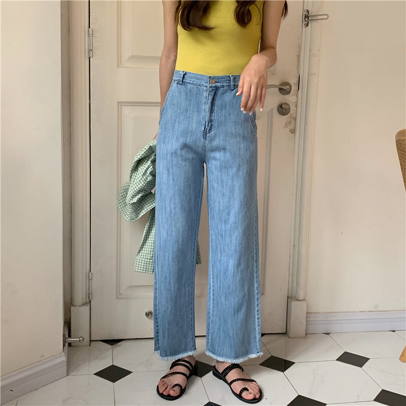 HziriP New Arrival Tassel Loose High Waist Jeans Loose Female Blue All Match Large Size Women Denim Straight Ankle Length Pants