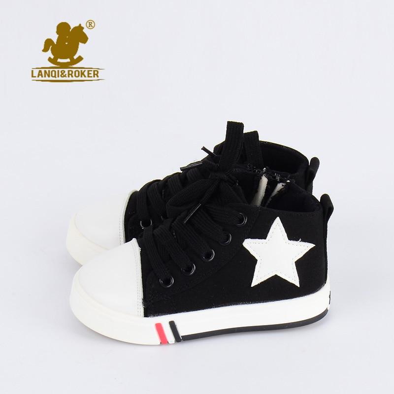 cd7f5c53c42 Originele Designer Herfst Kinderschoenen Grote Ster Hoge Canvas Schoenen  Voor Peuter Jongens Blauw Sneakers Baby Meisjes Enkele Rits Schoen in  Originele ...