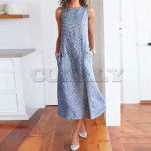 купить Summer Dress Women Casual Striped Sleeveless Dress Crew Neck Linen Pocket Long Dress Bohemian O-Neck Mid-Calf Dress по цене 2341.61 рублей