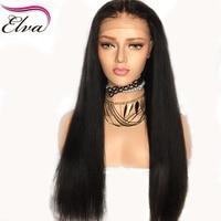 תחרה מול ישר יקי שיער אדם לנשים מראש פאות תחרה מול Glueless שיער רמי ברזילאי קו קטף Elva שיער