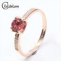 Nowy przyjazd naturalne gemstone rings 5mm okrągły kształt różowy turmalin kamień pierścień stałe 925 srebro pyrope granat pierścień dla kobieta