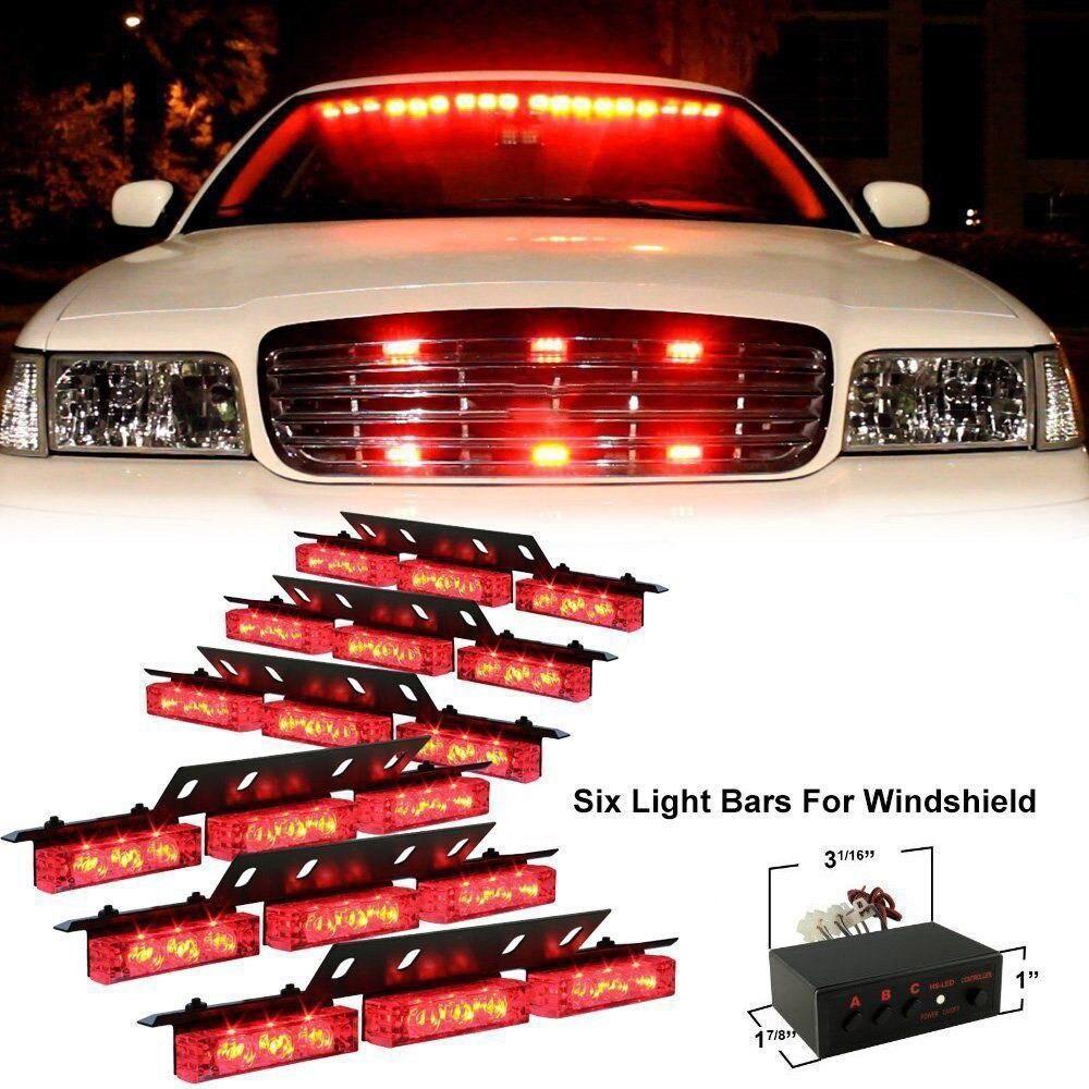 red 54 led emergency hazard car truck vehicle police grill strobe lights bars in car light. Black Bedroom Furniture Sets. Home Design Ideas