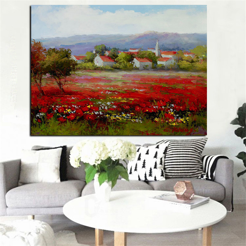 Print Abstract Wild Red Flower Poppies Landscape Oil Painting on Canvas Modern Pastoral Poster Art Wall Picture for Living Room (3)