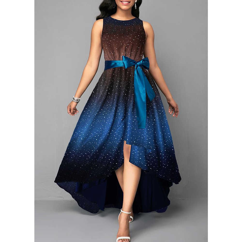 Летнее женское платье 2019, элегантные сексуальные роскошные длинные вечерние платья с принтом звездного неба, повседневные платья размера плюс, облегающие Бальные платья макси 5XL