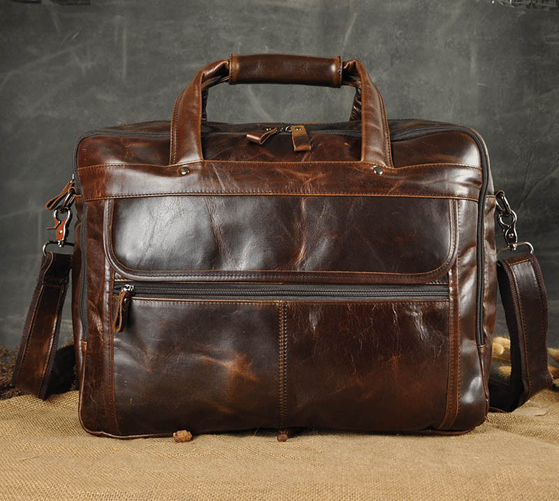 HTB1Ee1laZfrK1Rjy1Xdq6yemFXaR Men Oil Waxy Leather Antique Design Business Briefcase Laptop Document Case Fashion Attache Messenger Bag Tote Portfolio 7146