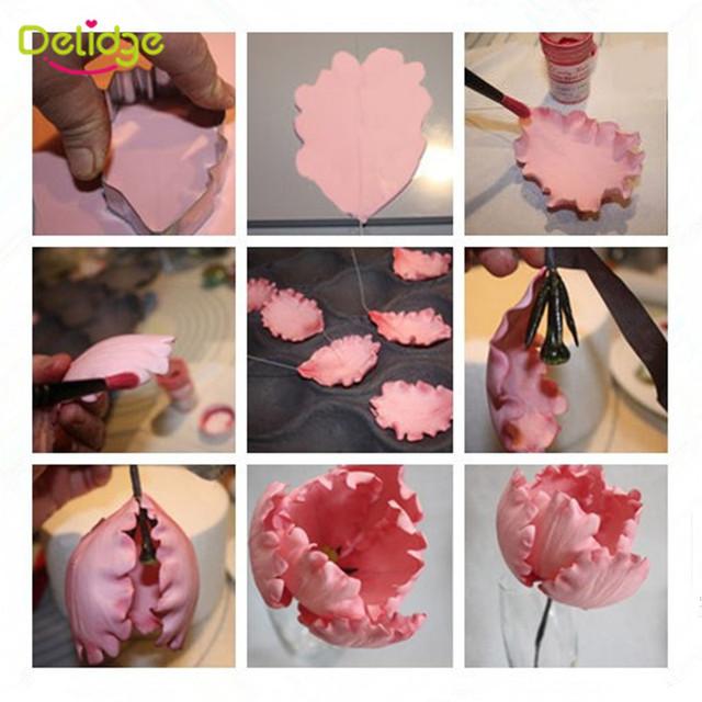 Delidge 3pcs/set Parrot Tulip Petal Flower Cookie Cutter Cake Decorating Tools Fondant Sugarcraft Candy Cupcake Biscuit Molds