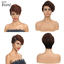 Remy Forte Lace Real Human Hair Wigs Short 100% Brazilian U Part Natural Wave P4/30 Colored Refreshing
