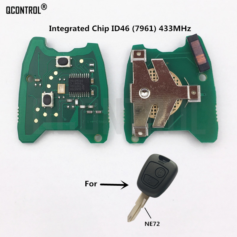 QCONTROL Car Remote Control Key Circuit Board For PEUGEOT 206 207 ID46 PCF7961 Electric Chip 433MHz 2 Buttons