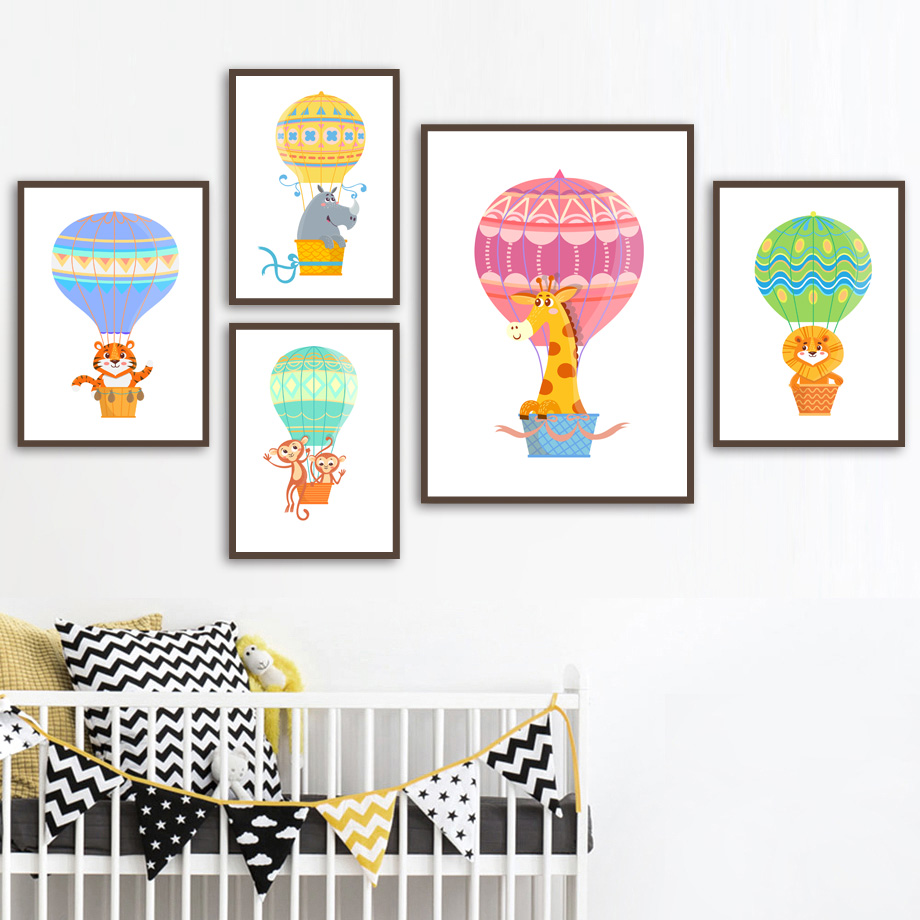 Hot Air Balloon Monkey Elephant Lion Tiger Wall Art Canvas Painting Nordic Posters And Prints Wall Pictures Kids Baby Room Decor(China)
